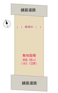 売 地 館山市加賀名 466.56㎡(141.13坪) 300万円 物件概略図