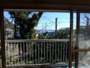 鴨川市の中古住宅 海が見える売家 南総ユニオン株式会社 広縁から見た海です