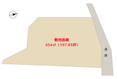 売 地 南房総市沓見 654㎡(197.83坪) 500万円 物件概略図