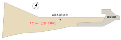 売 地 鴨川市平塚 1751.00㎡(529.69坪) 980万円 物件概略図