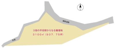 売 地 鴨川市平塚 3100.00㎡(937.75坪) 936万円 物件概略図