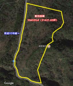 広大売山林 君津市清和市場 104535㎡(31621.83坪) 4500万円 物件概略図