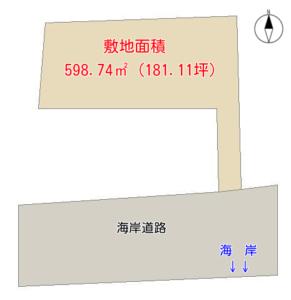 海 前 売 地 南房総市白浜町白浜 598.74㎡(181.11坪) 1480万円 物件概略図