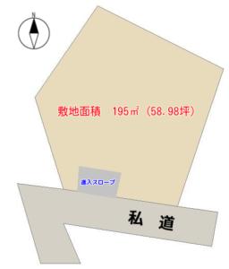 売 地 鴨川市成川(なりがわ) 195㎡(58.98坪) 380万円 物件概略図