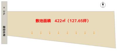 海 望 売 地 南房総市千倉町川合 422㎡(127.65坪) 68万円 物件概略図