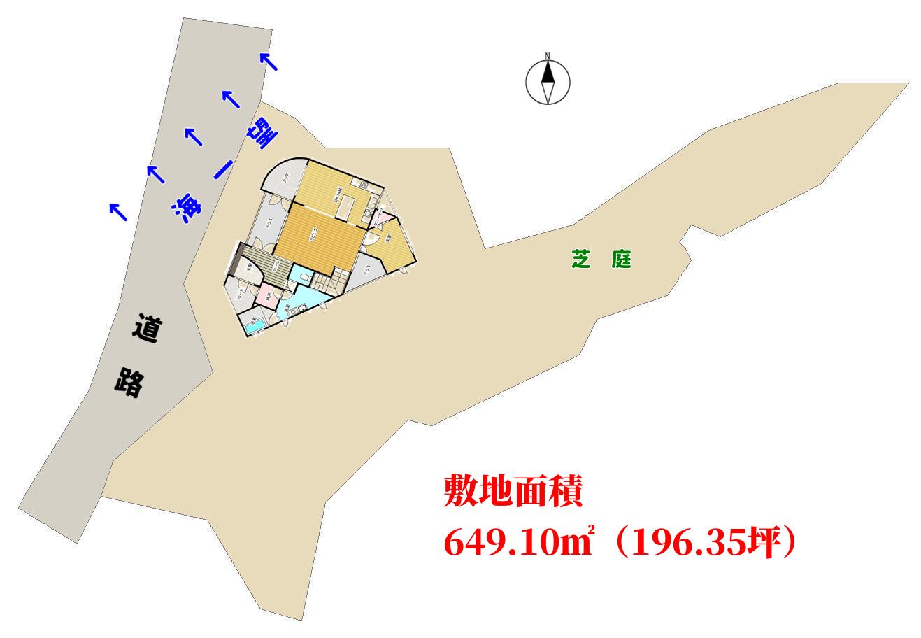千葉県館山市坂田の中古住宅 敷地図