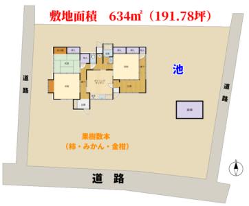 広庭付売家 南房総市千倉町北朝夷 3DK+広縁 950万円 物件概略図