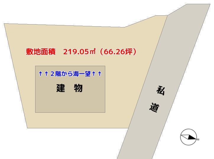千葉県館山市洲崎の海が見える物件の敷地概略 房総の別荘