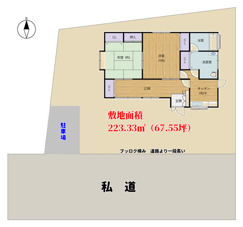 千葉県館山市広瀬の新着物件 敷地概要図