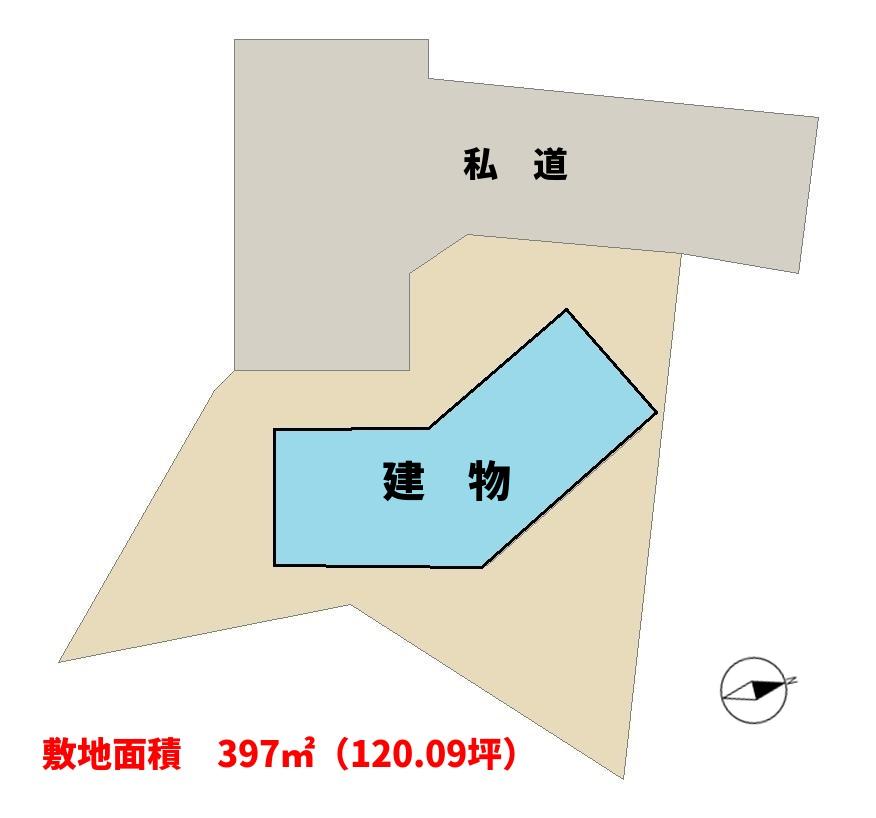 千葉県館山市岡田のログハウス敷地概略