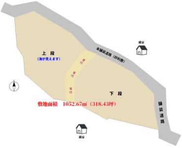 海望売地 いすみ市岩船 1052.67㎡(318.43坪) 1200万円 物件概略図