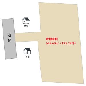 海浜売地 館山市北条 645.60㎡(195.29坪) 950万円 物件概略図
