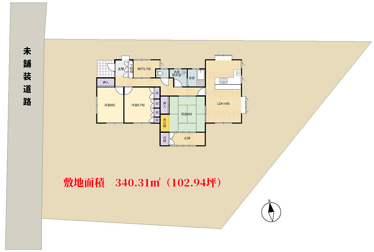 千葉県館山市国分の物件敷地概略