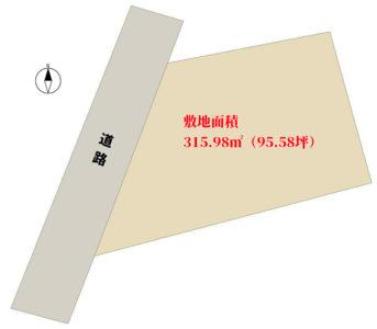 海浜売地 館山市犬石 315.98㎡(95.58坪) 380万円 物件概略図