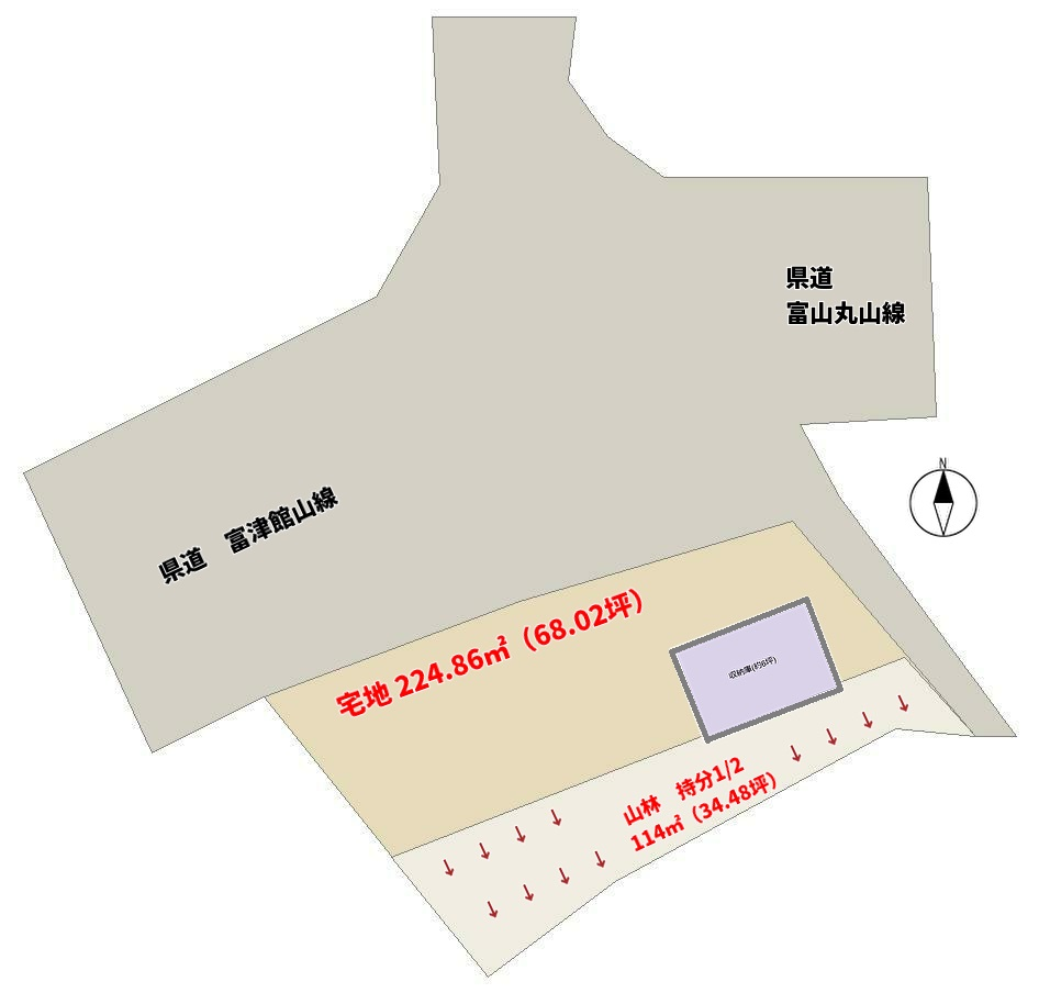 南房総市上滝田の売地 敷地図