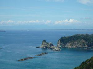 千葉県安房郡鋸南町下佐久間の不動産 アルカディアの物件 海一望の別荘 浮島の向こうに富士山