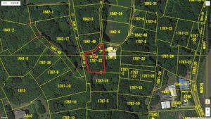 千葉県南房総市本織の不動産 人里離れた環境 仙人暮らし 赤枠内が敷地です