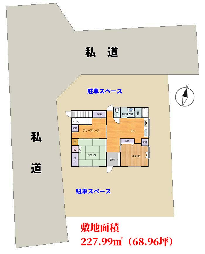 千葉県館山市船形の中古住宅、敷地概略図