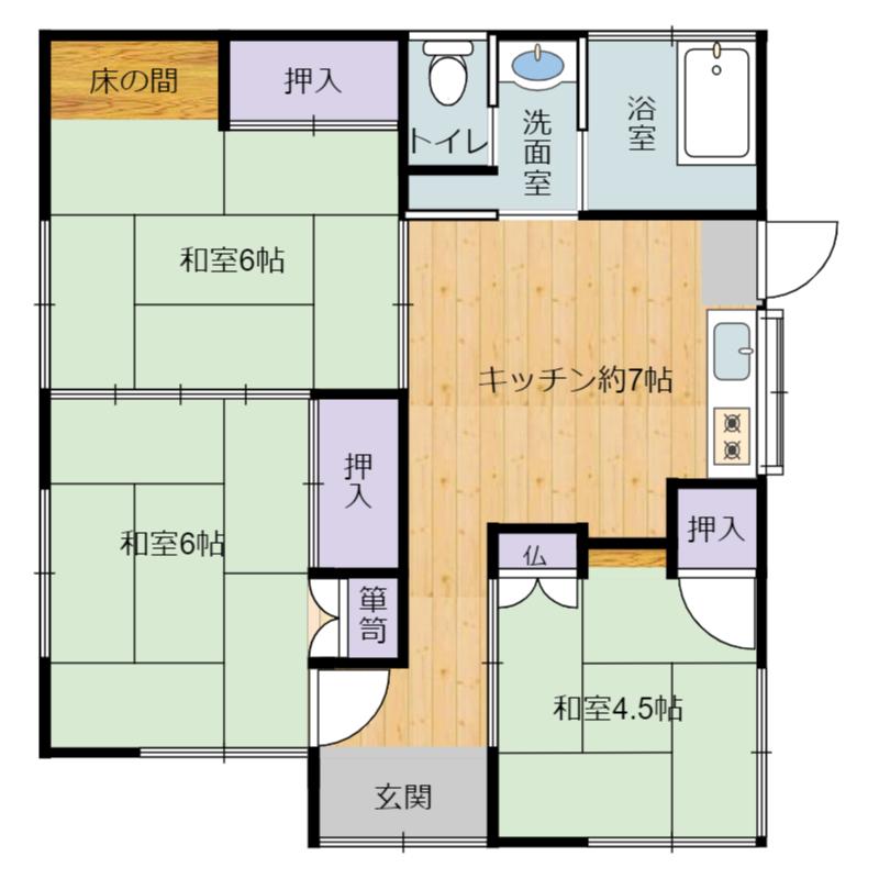 千葉県南房総市千倉町北朝夷の中古住宅、物件間取り図