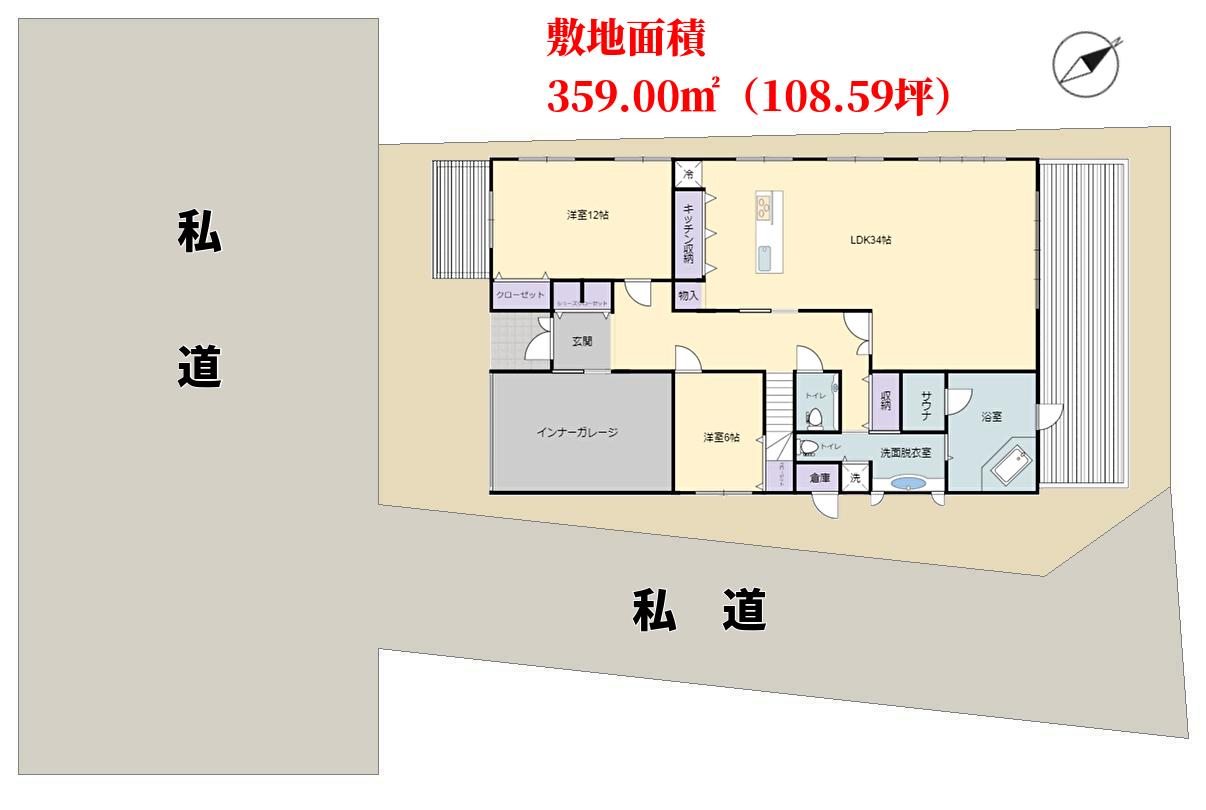 千葉県南房総市高崎の別荘、敷地概略図