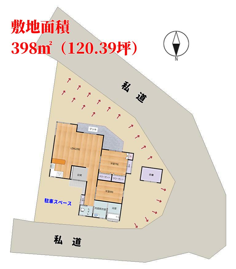 千葉県館山市岡田の不動産情報、中古別荘物件敷地概略