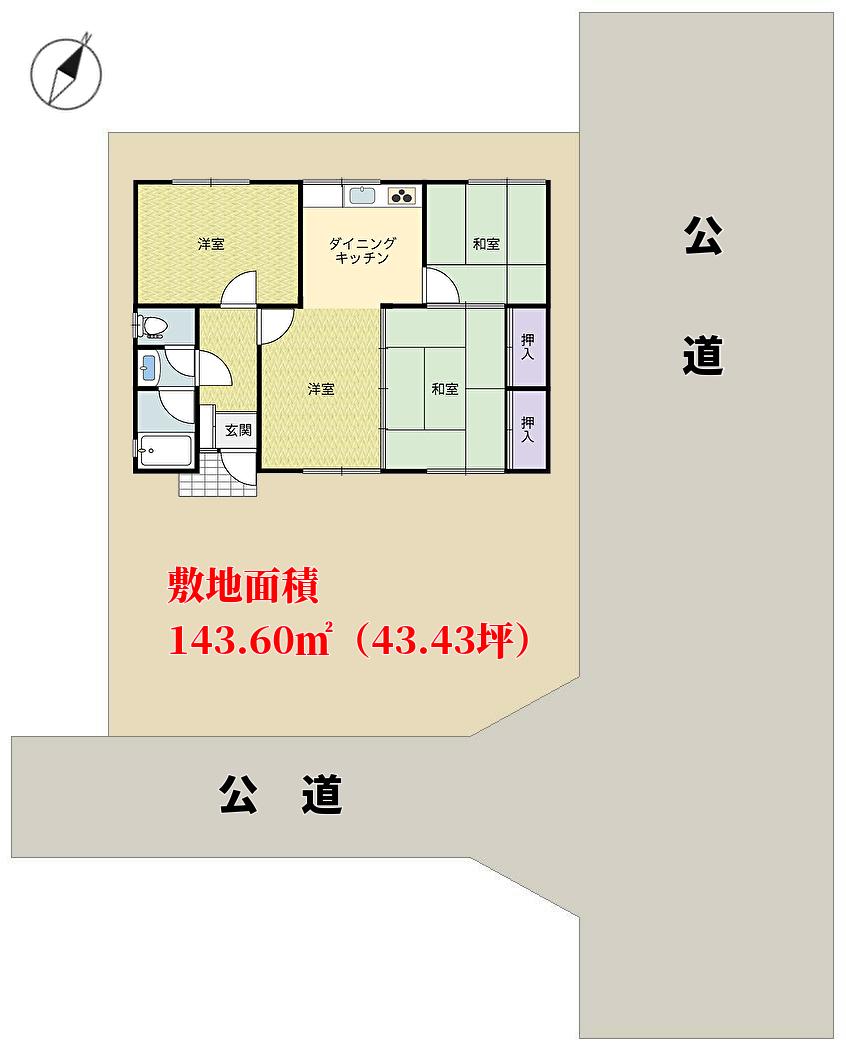 千葉県鋸南町元名の不動産、中古住宅の物件概略図