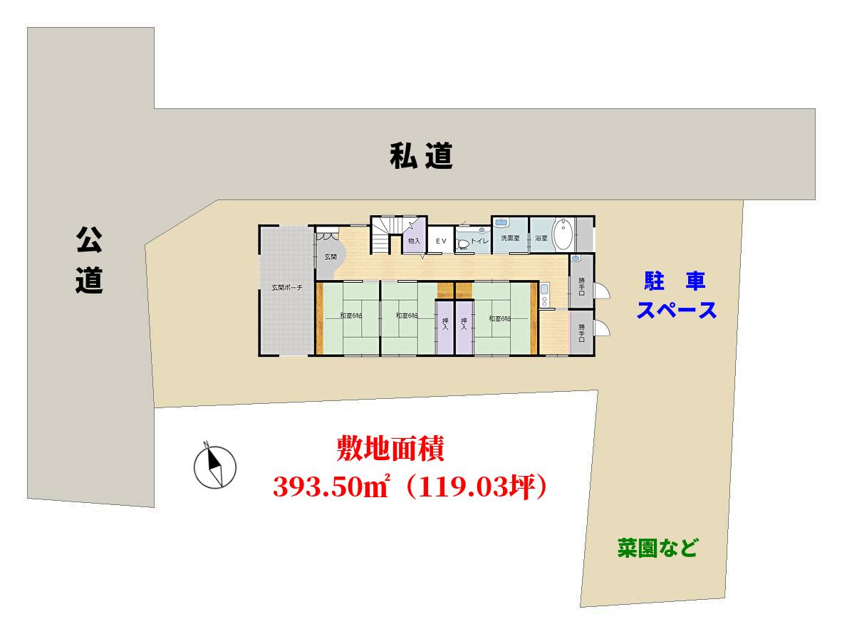 千葉県館山市館山 海望む豪華戸建 敷地概略図