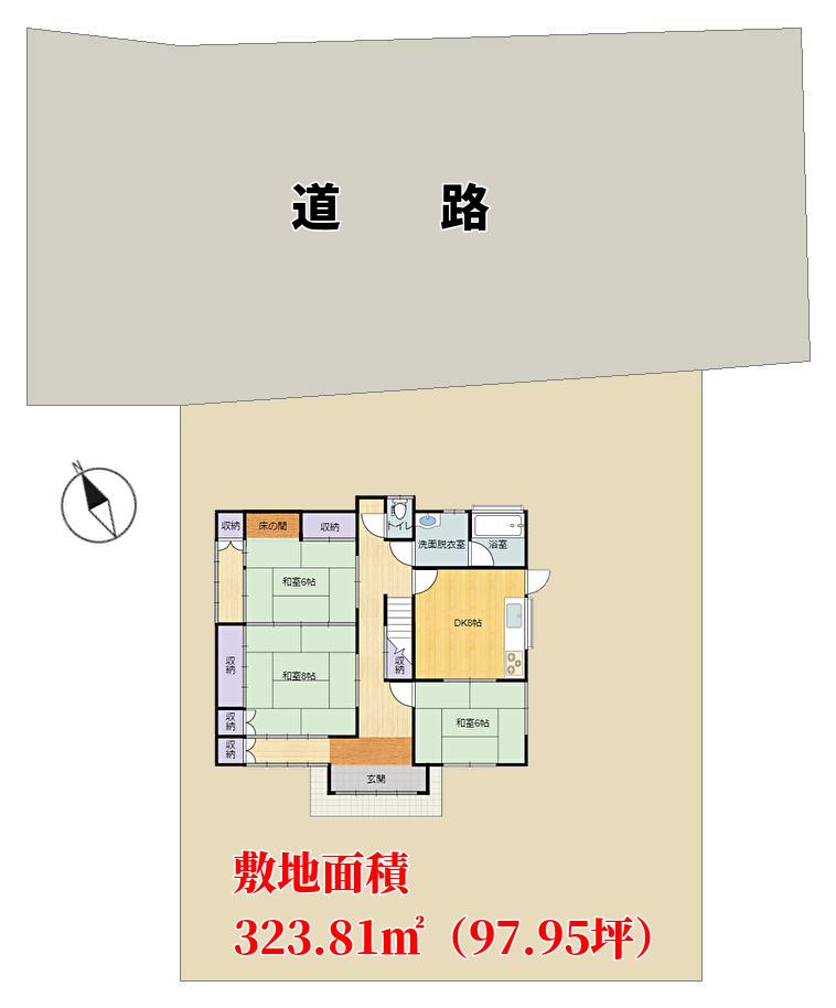 千葉県南房総市山下の不動産,中古戸建,敷地の概略図
