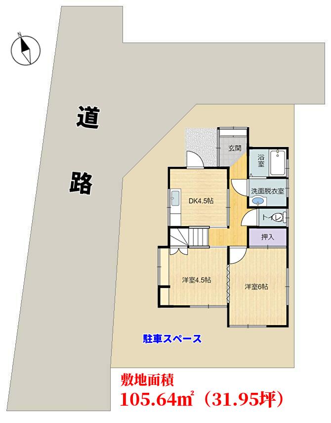 千葉県鴨川市浜荻の不動産戸建て、敷地の概略図