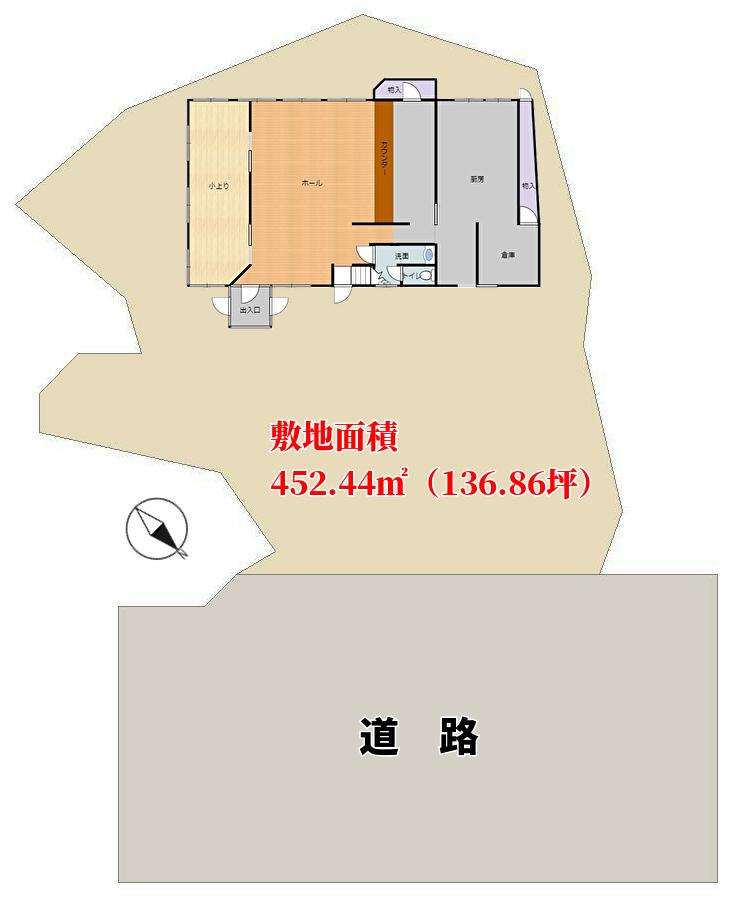 千葉県南房総市白浜町滝口の海が見える中古物件、敷地概略図