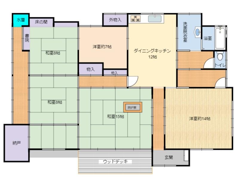 千葉県夷隅郡大多喜町久我原の不動産、古民家、間取り図