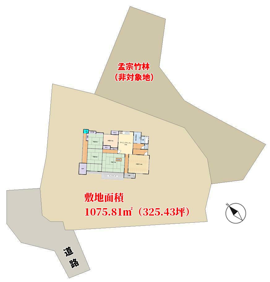 千葉県夷隅郡大多喜町久我原の不動産、古民家の敷地概略図
