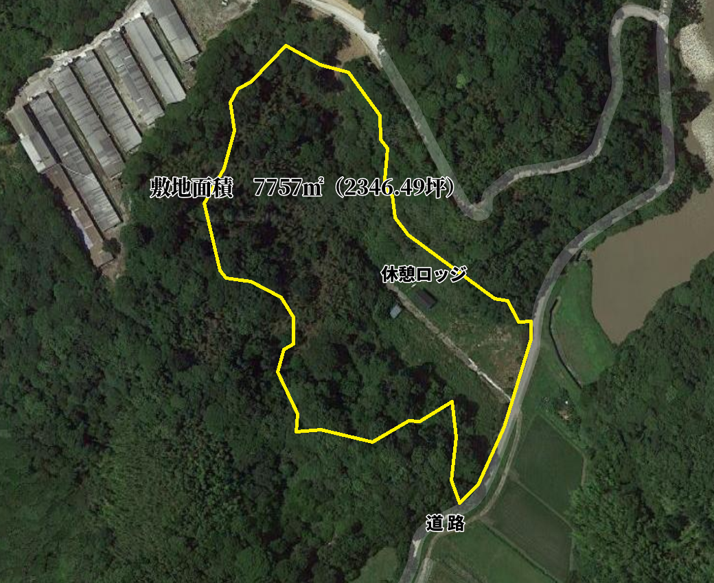 千葉県館山市正木の不動産、山林、キャンプ用地、ドッグラン、小屋付き、物件敷地概要図