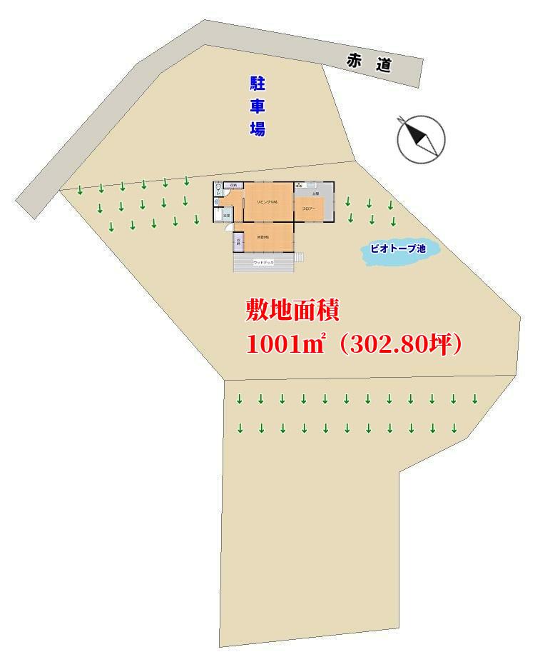 千葉県鴨川市平塚の物件、大山千枚田近くの別荘、敷地概略