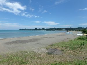 千葉県南房総市富浦町多田良の不動産、土地、海水浴場近く、海が見える、遠浅で穏やかな海岸線