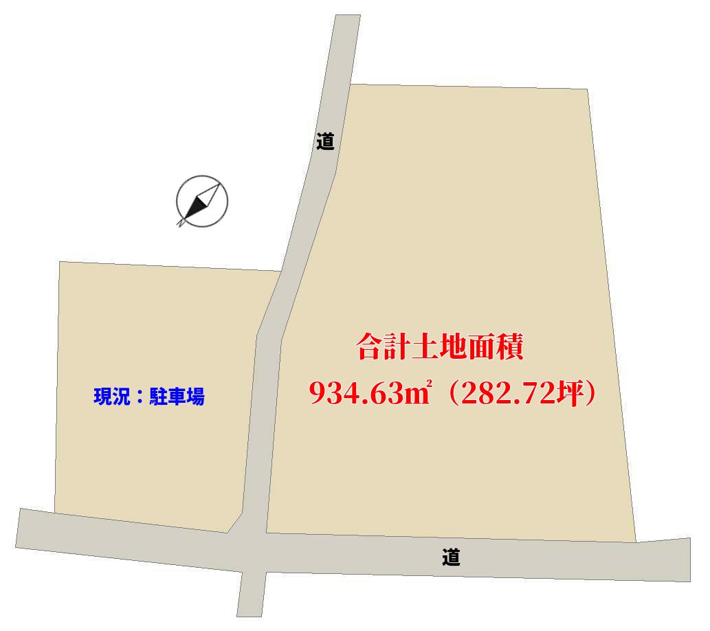 千葉県南房総市富浦町多田良の不動産、土地、海近く、北浜海水浴場、敷地図