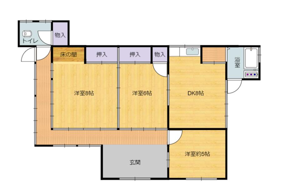 千葉県館山市宮城の不動産、古家付き土地、田舎暮らし、二地域居住、DIY物件、古家の間取図です