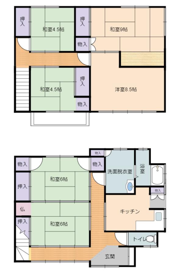 千葉県鴨川市浜荻の不動産、中古戸建て間取り図