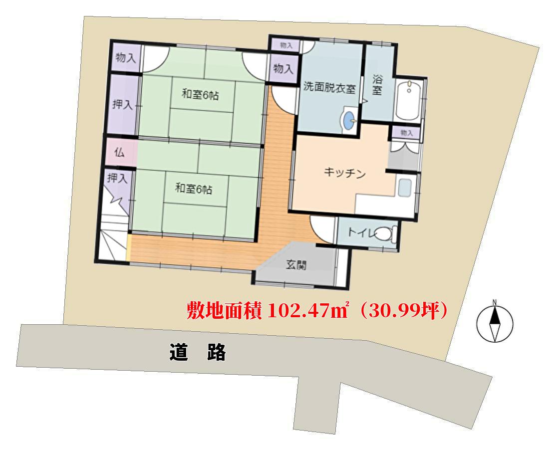 千葉県鴨川市浜荻の不動産、物件敷地概略図