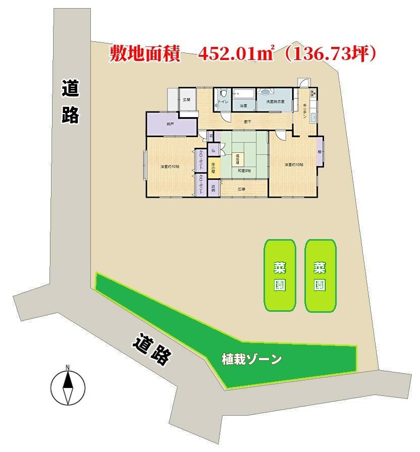 千葉県館山市稲の不動産、中古住宅、敷地概略