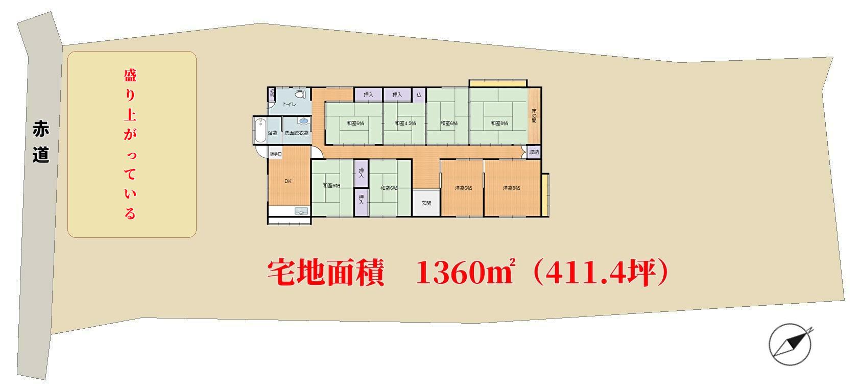 千葉県館山市宮城の不動産 物件敷地概略図