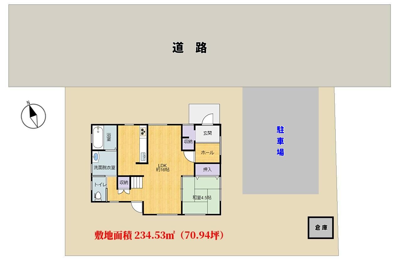 千葉県館山市長須賀の不動産、中古戸建て、敷地概略図