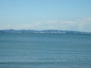千葉県富津市千種新田の不動産、土地、海が見える、ケープショアガーデン、海一望、対岸には三浦半島と富士山