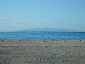 千葉県南房総市白浜町根本の不動産、海が見える土地、別荘用地、正面には大島
