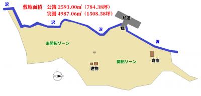 沢沿い広大売地 鴨川市川代 2593㎡(784.38坪) 1580万円 物件概略図