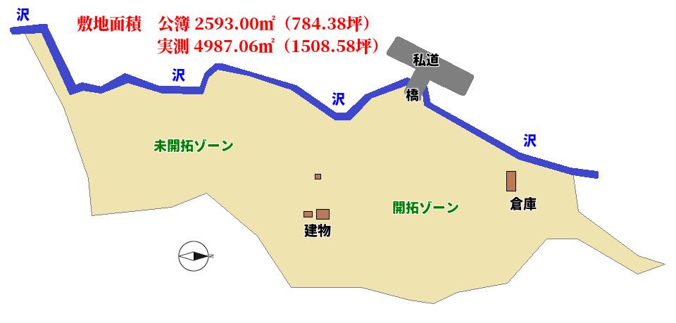 千葉県鴨川市川代の不動産、山林、キャンプ用地、敷地概略図