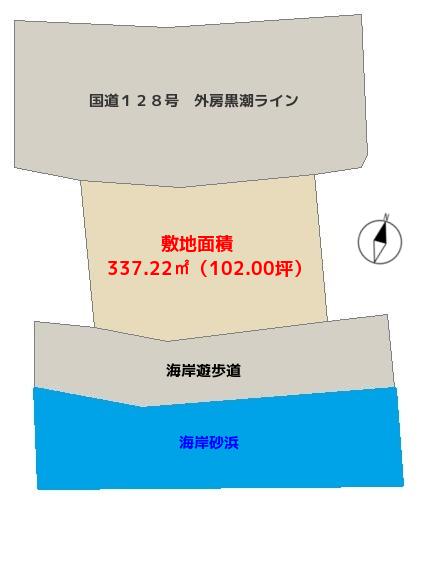 千葉県南房総市和田町白渚の不動産、海前土地の概略図
