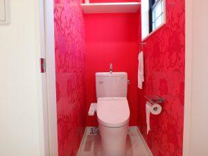 千葉県館山市高井の不動産、築浅戸建て、移住、2階のトイレは個性色