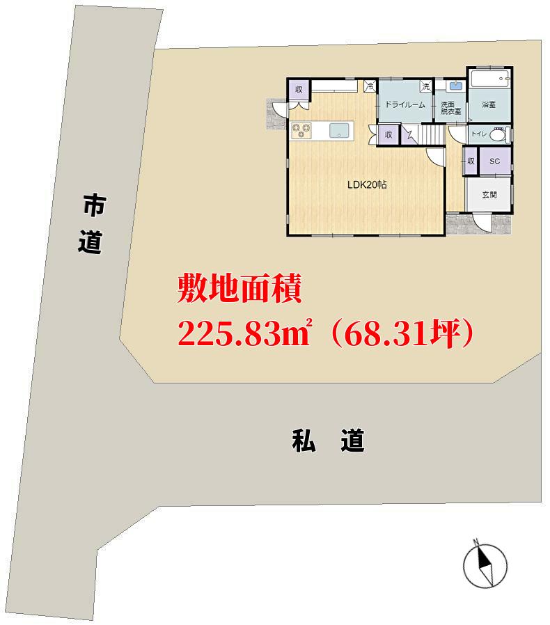 千葉県館山市高井の不動産、戸建て、中古住宅、敷地概略図