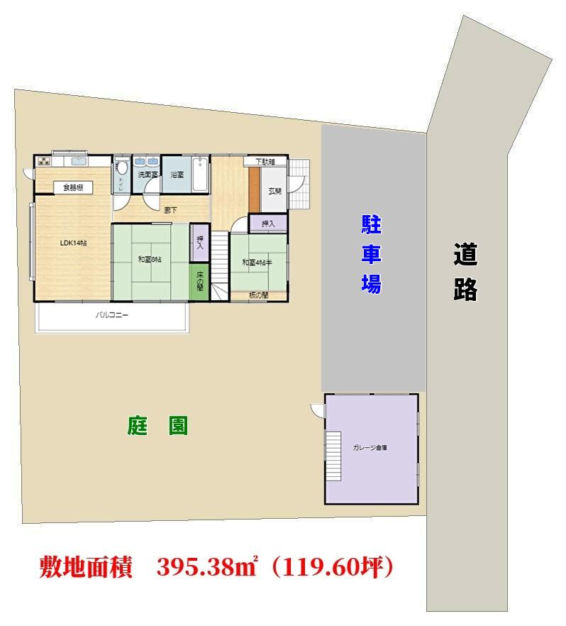 千葉県南房総市白浜町滝口の不動産、海が見える大型別荘、敷地概略図